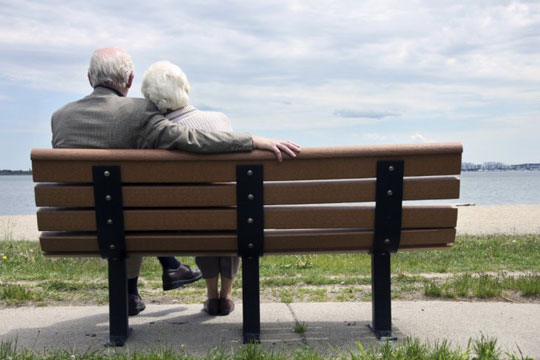 older couple on bench